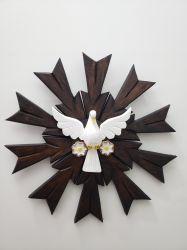 Lindo Espírito Santo De Madeira 43 x 43 Cm Marrom