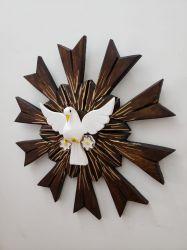 Divino Espírito Santo De Madeira - 43  x 43  Cm Marrom com Dourado