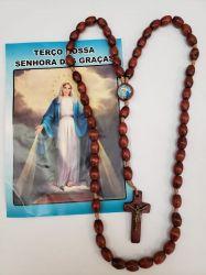 Terço Madeira Nossa Senhora Das Graças Em Madeira 43 Cm