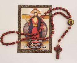 Lindo Terço em Madeira das Santas Chagas de Jesus - 42 cm -Acompanha Novena