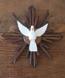 Divino Espírito Santo Em Madeira - 26 x 26 cm