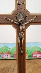 Linda Cruz Crucifixo Madeira e Metal Grande 30 Cm