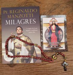 Livro Padre Reginaldo Manzotti + Lindo terço em Madeira Santas Chagas 42 cm - Artigo Religioso Católico