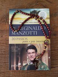 Livro Padre Reginaldo Manzotti  + Lindo terço em Madeira Santas Chagas 42 cm - Artigo Religioso Católico -Livro Católico