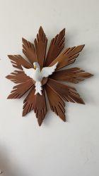 Divino Espírito Santo De Madeira Raios Duplos 65 x 65 cm