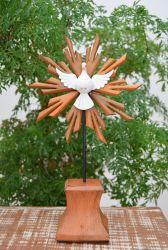 Divino Espírito Santo Pedestal em Madeira 32 x 18 cm
